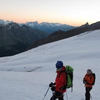 Visibilità perfetta! All'orizzonte la catena del Monte Bianco: il Dente del Gigante e le Grandes Jorasses